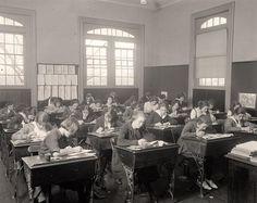 1920's Junior High classroom.  the high windows......