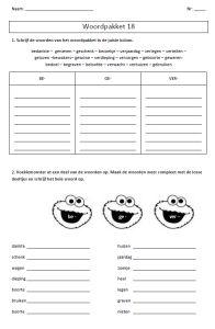 Huiswerk spelling - woordpakket 13 tot woordpakket 28 - tijd voor taal spelling 3