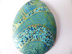 Collier avec médaillon bois et chiyogami véritable bleu et perle de Bohème bleu azur