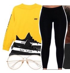 Comfy look=Yeezy+Leggings+Yellow sweater+transparent glasses. Lit Outfits, Chill Outfits, Dope Outfits, Teen Fashion Outfits, Outfits For Teens, Trendy Outfits, Winter Outfits, Outfit Online, Vetement Fashion
