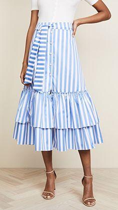 Caroline Constas Миди-юбка с оборками и завязками   SHOPBOP Скидки до 25% на ВСЕ с кодом GOBIG18