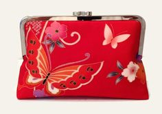 Red Silk Clutch Purse With A Butterfly And by SimplySilkScarves