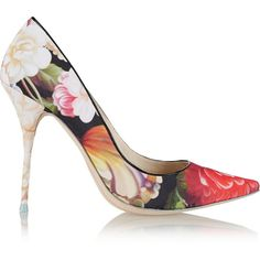 J.Crew + Sophia Webster Lola floral-print satin pumps ($170) ❤ liked on Polyvore featuring shoes, pumps, fuchsia, colorful shoes, floral pumps, multi-color pumps, fuschia shoes and floral print pumps