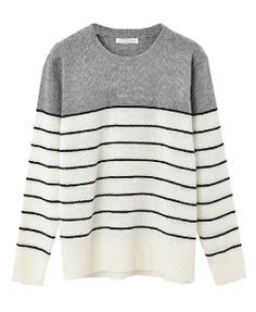 Preppy Style Round Neckline Striped Pullover - Clothing