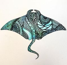 One of a kind hand painted watercolor painting with Micron pen illustration details. Manta Ray Tattoos, Shark Tattoos, Tribal Tattoos, Hammerhead Shark Tattoo, Underarm Tattoo, Stingray Tattoo, Geometric Shapes Art, Maori Designs, Tattoo Designs