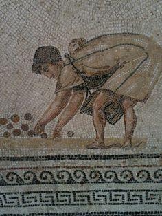 Tunisian roman mosaic depicting a harvest scene.