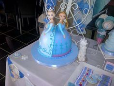 Elsa and Anna cake at a Frozen birthday party! See more party ideas at CatchMyParty.com!