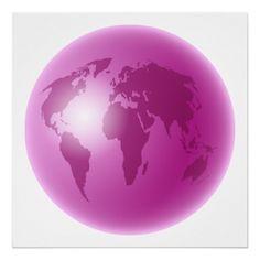 Pink World Globe Posters
