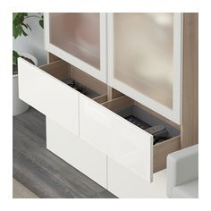 BESTÅ Storage combination w/glass doors - walnut effect light gray, Selsviken high-gloss/white frosted glass - IKEA Kitchen Cabinets Sliding Doors, Plastic Foil, Plastic Windows, Ikea Family, Tempered Glass Shelves, Ikea Us, Large Drawers, Design Your Life, Small Office