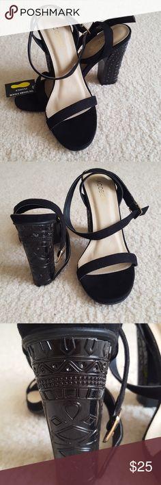 Lulu's Black Heels New with tags Size 7.5  Black wrap heel with cute detail on heel Memory foam insole Lulu's Shoes Heels