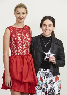 Brother Design Stars Fashion years 10-13 winner Kate Arbuckle (R) with her model (L)
