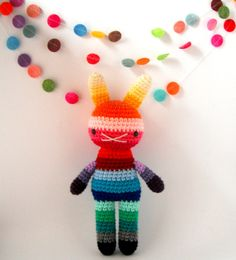 amigurumi children rabbit toy crochet doll rainbow