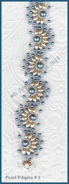 tambour beading Bead Tutorial - Pearl Filigree # 2 Bracelet - Netting stitch Bead Patterns by Jaycee Pearl Embroidery, Bead Embroidery Patterns, Weaving Patterns, Bead Patterns, Color Patterns, Knitting Patterns, Mosaic Patterns, Crochet Patterns, Diy Embroidery