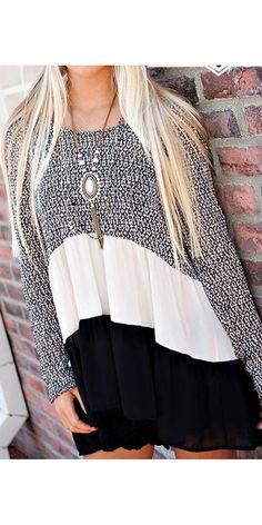 Black Sweater Ruffle Tunic Top