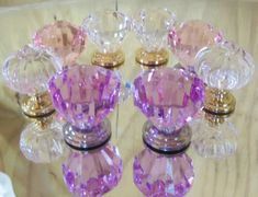 Set of 8 Drawer Pulls Knobs Eclectic Collection Pink Lavender Clear