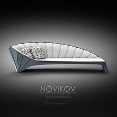 Strabo Sofa - White with ice blue frame by Novikov Designs www.novikovdesigns.co.uk