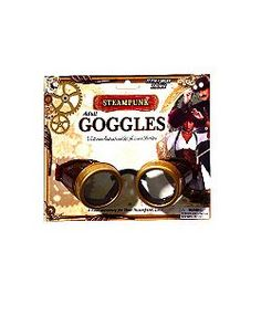 Brown & Gold Steampunk Goggles | Cheap Eyewear/Sunglasses Halloween Costume
