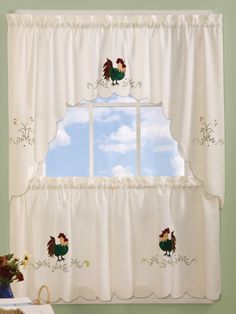 Rise & Shine curtains feature charmingly colorful embroidered rooster pattern on a natural background.   #Complete #Kitchen #Sets