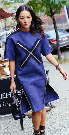 Tina Leung in a Balenciaga dress