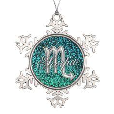 Silver #Zodiac Sign #Scorpio Snowflake Ornament. A metallic silver zodiac sign Scorpio on blue green glitter  snowflake ornament for your favorite holiday tree.