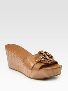 Comfy & cute ~Tory Burch - Patti Leather Wedge Logo Sandals - Saks.com
