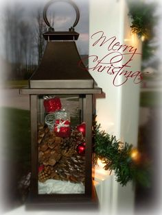 pics of how to decorate pinecones | Decorate a lantern for Christmas! Cinnamon, pinecones, mini ornaments ...