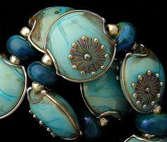 DSG Beads Handmade Organic Lampwork Glass-Made To Order Copper Green Set. $105.00, via Etsy.