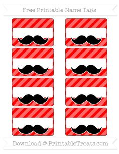 Red Diagonal Striped  Mustache Name Tags