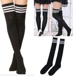 Women-Sexy-fashion-Thigh-High-black-Striped-Cotton-Socks-Over-Knee-Stockings