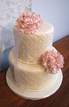 wedding cakes with peonies | peonies fondant pearls quilted ivory fondant wedding cake vanilla cake ...
