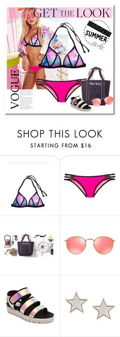 """""""Get the look: Swimsuit edition"""" by girl-with-ideas ❤ liked on Polyvore featuring Victoria's Secret, Lands' End, Ray-Ban, Givenchy, GetTheLook, Swimsuits and summer2016"""