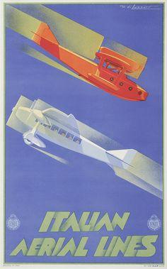 Italian Aerial Lines, ca. 1935, Umberto di Lazzaro, Grafiche I.G.A.P (Impresa Generale Affissioni e Pubblicità), Roma and Milano.