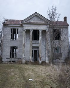 Old Farm House With Huge Colonnades