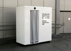 Vital 5 Productions – PDL : Portable Confessional Units Confessee sitting inside to listen to the Confessor