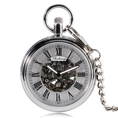Automatic Mechanical Pocket Watch Vintage Open Face Roman Numerals Dial Pendant - Modern Pocket Watch - Ideas of Modern Pocket Watch Modern Pocket Watch, Pocket Watch Mens, Vintage Pocket Watch, Quartz Pocket Watch, Silver Pocket Watch, Swiss Pocket Watches, Mechanical Pocket Watch, Steampunk, Silver Man