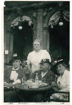 Venice, Italy: Caffe Florian people in 1936.  Loving the hats!