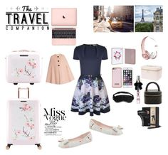 """Travelling Outfit // Ted Baker Inspiration"" by peltomakipauliina on Polyvore featuring Ted Baker, Chanel, Slip, GHD, Beats by Dr. Dre, Lonely Planet and Roksanda"