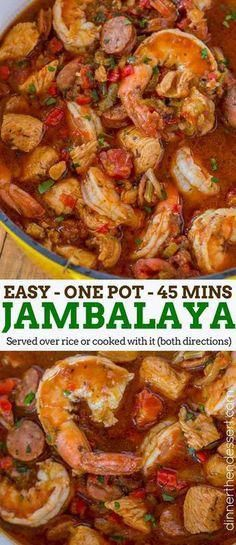 Easy Jambalaya made with Chicken, Shrimp and Andouille Sausage in under 45 minutes. Served over rice or rice cooked with the jambalaya for one pot meal. Easy Jambalaya (Chicken, Shrimp and Andouille) - Dinner, then Sausage And Shrimp Recipes, Andouille Sausage Recipes, Shrimp And Sausage Jambalaya, Seafood Jambalaya, Jambalaya Soup, Jambalaya Crockpot, Chicken And Sausage Jambalaya, Recipe For Chicken And Sausage, Cajun Shrimp And Rice Recipe