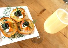 Champagne Cocktail with Caviar Crostini Supplement