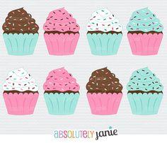 Sprinkle Cupcakes 1 Clipart  Digital Clip Art