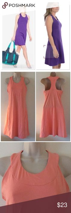 Lucy activewear city adventure dress Light peach. Model wearing same dress except different color. Built in sport bra. Moisture wicking fabric. Flattering to all shapes. Has pockets for bra inserts if desire. Racerback.  Definitely stretchy.  16' approx bust measurement taken laying flat.   37 length.  ' Lucy Dresses