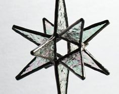 Rainbow Colored Moravian Star Large Handmade Stained by LAGlass
