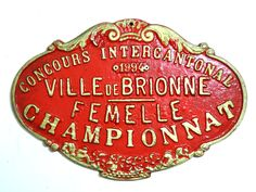 French Vintage Agricultural Award Plaque/French Vintage Animal Plaque/French Vintage Plaque/Vintage Livestock Award Plaque/Red French Plaque by SouvenirsdeVoyages on Etsy