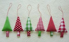 Christmas Tree Ornaments 6 Fabric Christmas Decorations in green, red and white
