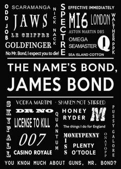 Typography wall art  James Bond Movie Room Decor    TITLE: Bond in Black    Available in 9 other colors - See other photos for some examples