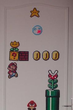 DeviantArt: More Like Mario Hama Perler beads by NerdCraft Perler Bead Templates, Pearler Bead Patterns, Perler Patterns, Pearler Beads, Hama Beads Mario, Pixel Beads, Fuse Beads, Sprites, Mario Bros.