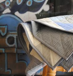 Blue and Gray Equilateral Triangles Crib Quilt by CarsonToo