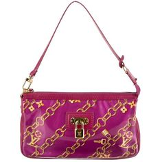 Pre-owned Louis Vuitton Monogram Charms Pochette ($495) ❤ liked on Polyvore featuring bags, handbags, clutches, pink, white hand bags, monogrammed purses, monogrammed handbags, louis vuitton handbags and white purse