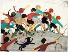 Childrens Hoops : Ethel Spowers : Circa 1936 : lino cut : Fine Art Print #linocut
