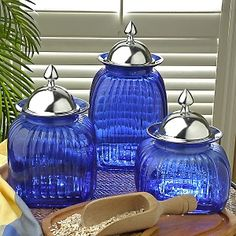 ROYAL BLUE & SILVER Love these cannisters. They look like jewels.